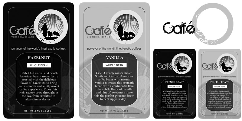 Cafe O labels & logotype