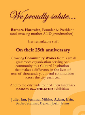 Community Works 25th Anniversary program ad